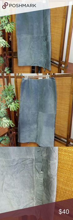 Blue Suade Leather Skirt Great condition. No stains or tears. Ruffled hem on slit Live A Little Skirts Pencil