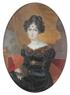 Portrait of Mme. Germain by Francois Meuret (Boris Wilnitsky) Bookmark this member Regency Dress, Regency Era, Rey George, Empire, Miniature Portraits, Women In History, Historical Clothing, Fashion Plates, Female Art