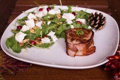 Goat honey Salad with pork steak