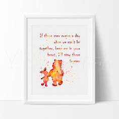 Decorate your nursery with Winnie The Pooh Quote Boy Girl Nursery Art Prints for nursery walls from VividEditions, Wall Art Prints For Kids. With a large selection of baby modern art decor.