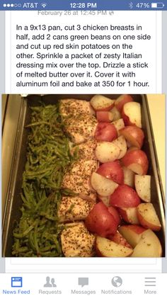 Chicken, green beans, and potatoes