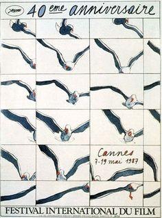 1987  ⎟  Affiche du 40e Festival de Cannes. Oeuvre originale de Cueco.
