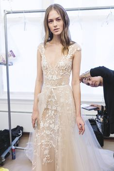 ebbe4932a37 Backstage at Monique Lhuillier we found ourselves amongst a sea of dreamy