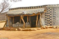 """Decorated Mud Houses of Tiébélé, Burkina Faso """" In the south of Burkina Faso, a landlocked country in west Africa, near the border with Ghana lies a small, circular village of about Geometric Patterns, Geometric Shapes, Painted Earth, Hand Painted, Cob Building, African House, African Shop, African Art, Mud House"""