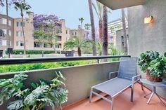 Private patio at HillCreste Apartments, Century City, CA