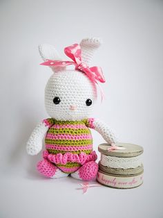 Large Amigurumi Crochet Bunny. New baby, christening or baby shower gift. Pink, white and green yarn. Available from ETSY. Hand made with love by Kinderkraft!