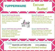 Tupperware Excuse Buster!!!!!    Call me to join my winning team....