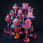 Fantastic Miniature Worlds Bursting with Color for Hermès Window Display in Dubai | strictlypaper
