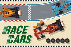Check out Race cars by Rosa_Puchalt on Creative Market