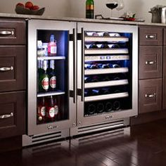 Wine AND beer. That would leave so much room in our full size fridgeThis is the ticket! Wine AND beer. That would leave so much room in our full size fridge Wine And Beer Fridge, Wine Refrigerator, Undercounter Refrigerator, Wine Cooler Fridge, Full Fridge, Drinks Fridge, Built In Wine Cooler, Beer Cooler, Home Coffee Stations