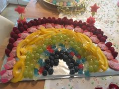 Rainbow mixed plate with sweets fruit and veggies