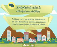 Implantação de núcleo de articulação nos ministérios: O diálogo com a sociedade é fundamental em uma democracia. Conheça as propostas de Aécio Neves para a participação cidadã.