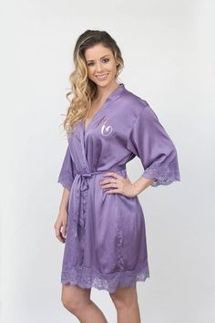 Bridesmaid robes-Bridesmaid Gifts-Custom Wedding Robes-Gift for Bride-Satin  Lace Robes-Bridal Robes-Bridal Shower Gift-Set of 2 ac244c0dd