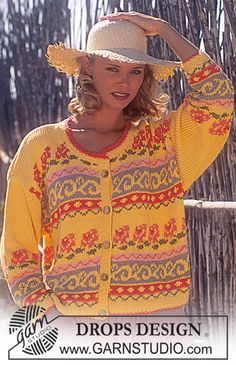 Ravelry: Jacket with flower pattern pattern by DROPS design Knitting Designs, Knitting Patterns Free, Free Knitting, Crochet Patterns, Drops Design, Fair Isle Pattern, Wrap Pattern, Fair Isle Knitting, Cardigans For Women