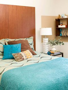 Modern & Fun  Give old closet doors a new purpose as a headboard. Two closet doors mounted on the wall behind the bed create a sleek focal point in this midcentury-modern bedroom. Plus, the tall headboard gives the room a sense of height.  Add some shelves, hang reading lights on the sides, whatever! Use your imagination on this one!