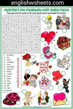 Valentine's Day Esl Printable Word Search Puzzle Worksheet For Kids #valentines #day #Esl #Printable #word #search #Puzzle #Worksheet #language #arts #languagearts