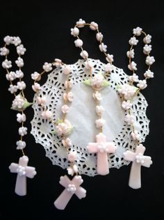 Mini Rosary Favors, Girls Baptism Favor, 12 Pink Rosaries Favor, First Communion Rosary, First Communion Favor, Pink Baptism Favor, Rosaries by PartyFavorsMiami on Etsy