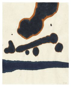 Robert Motherwell 1915-1991 LYRIC SUITE signed with the artist's initials, ink on rice paper 27.9 by 22.9 cm. Executed in 1965.