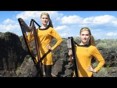 ▶ STAR TREK Theme (TOS at very end) Harp Twins electric- Camille and Kennerly - YouTube