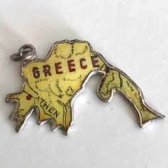 41077c55ee6a5 Greece - Vintage Enamel Map Travel Charm - Yellow