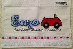 Toalha de Mão bordada em Ponto Russo - Facebook: Biartes Bordados