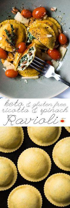Grain Free, Low Carb & Keto Spinach Ricotta Ravioli