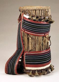 Africa | Drum from the Yoruba people of Nigeria | Mid to late 20th century | Wood, hide, cloth and brass bells.
