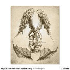 Angels and Demons - Reflection Poster Engel Tattoos, Kunst Tattoos, Tattoo Drawings, Art Drawings, Best Sleeve Tattoos, Sexy Tattoos, Body Art Tattoos, Taurus Tattoos, Feminine Tattoos