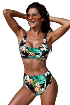 193dc49c83 Women's Swimsuit Celebrity Green U-neckline High Waist Topical Bikini. Two  Piece ...