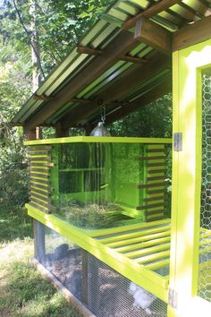 Mid Century Chicken Coop. Retro RUN for Silkies.  CURVED GLASS. My brother and sister in law made this!!!!