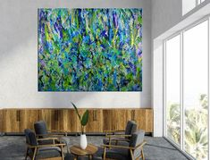 Room View - Regrowth (Lush Greenery) by Nestor Toro Blue Painting, Painting Edges, Acrylic Painting Canvas, Abstract Painters, Abstract Art, Abstract Expressionism Art, Lovers Art, Painting Inspiration, Lush