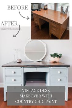 Check out this transformation of this vintage desk into a two toned farmhouse desk using Country Chic Paint color in Dune Grass! Repainted Desk, Refurbished Desk, Diy Wood Desk, Diy Desk, Desk Redo, Farmhouse Desk, Farmhouse Furniture, Desk Makeover, Furniture Makeover