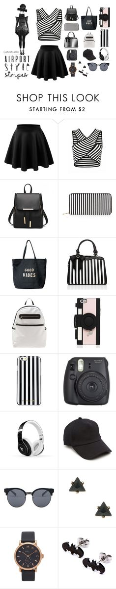 """airport style in stripes!"" by ivanavain on Polyvore featuring New Look, Venus, Kate Spade, MICHAEL Michael Kors, Beats by Dr. Dre, rag & bone, Quay and Marc Jacobs"