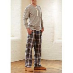 bd1bcca99d0ad Plaid pj pants and a soft henley with Acorn ROMEO II Slippers for Men