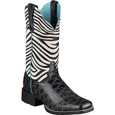 #Ariat Quickdraw in black anteater/zebra print is a hardworking cow girls #boot that likes to step out!