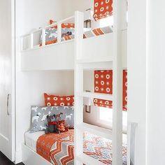 Orange and Gray Bunk Beds with White Ladder