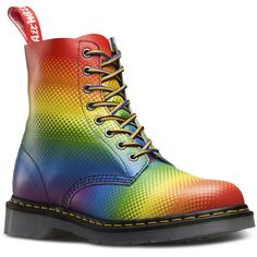 Pascal Rainbow Pride ($165) ❤ liked on Polyvore featuring shoes, boots, slip resistant shoes, rainbow boots, rainbow shoes, logo shoes and welted shoes