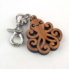 Wood Octopus Purse Charm: Bamboo Key Chain Zipper Pull on Etsy, $18.00