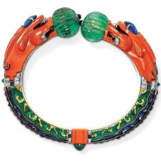 Cartier Chimaera Bracelet of Coral Emerald Sapphire Onyx Diamond Enamel, 1928