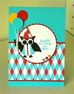 Stampin Up: Owl Builder Punch. Owl with balloons - by Kerry Bunting