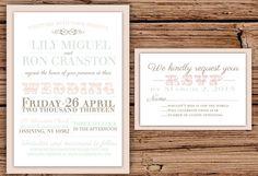 Pastel Vintage Wedding Invitation by OliveJuiceStationery on Etsy, $35.00