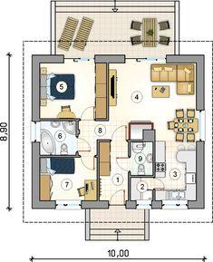 Mały energooszczędny dom parterowy tani w budowie. Duplex House Plans, Apartment Floor Plans, Modern House Plans, Small House Plans, Atrium, Two Bedroom House, Architectural House Plans, Sims 4 Houses, Home Design Plans