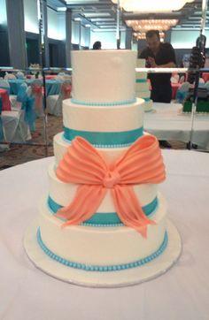Aqua & Coral Wedding Cake