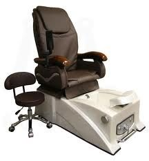 Spa room: pedicure massage chair and whirlpool water basin Our Ultimate Guide to Pedicure Chairs will help you pick out the perfect chair. Check it out! https://weheartnails.com/pedicure-chairs-for-sale/