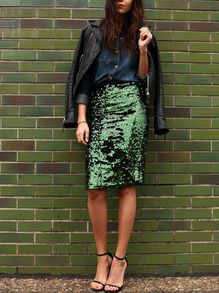 Sparkling Hunter Green Crushed Sequin Pencil Skirt