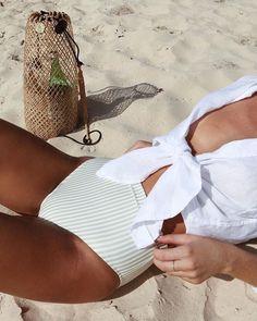 Stripes high-waisted bikini with linen shirt for casual beach style Bikini Sets, Bikini Modells, Bikini Beach, Bikini Bottoms, Beach Wear, Beach Babe, Outfit Beach, Bikinis, Swimsuits