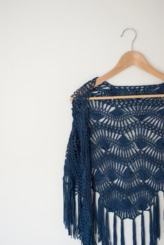 hairpin lace shawl in navy crochet shawl for her by annerstreet. $59.00, via Etsy.