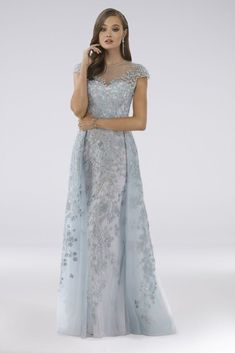 Lara Delilah Lace Ball Gown with Overskirt 29798 Plus Size Cocktail Dresses, Plus Size Gowns, Mother Of The Bride Dresses Long, Mothers Dresses, Short Wedding Gowns, Wedding Blue, Wedding Dresses, Black Tie Attire, Lace Ball Gowns