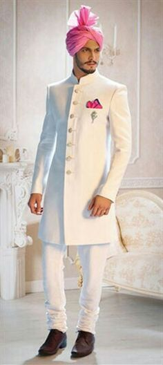 502851 White and Off White color family Sherwani in Linen fabric with Broches work . dresses muslim men White and Off White color family stitched Sherwani . Wedding Dresses Men Indian, Wedding Dress Men, Wedding Men, Wedding Dinner, Indian Weddings, Wedding Couples, Farm Wedding, Boho Wedding, Wedding Reception