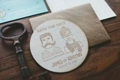 Completely customizable, these rustic, hipster-y coaster save-the-dates are made out of real wood and laser engraved for an impression you can see and feel.